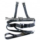 Black Matt PVC Bass Drum Harness with Plain Buckles