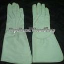 White Leather Drummer Gountlet Gloves