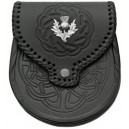 Black Leather Day Embossed Sporran